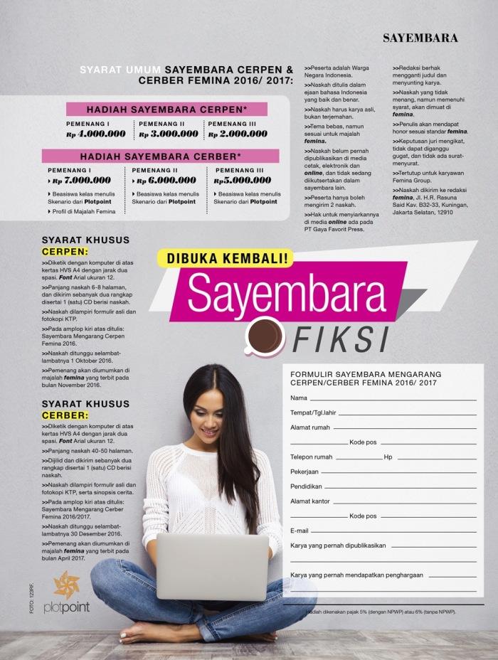 DIBUKA KEMBALI! SAYEMBARA FIKSI FEMINA2016/2017